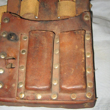 Vintage  antique Leather Tool Utility Pouch Distressed. with  canvas belt