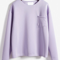 Long Sleeve Pocket Pale Purple T-shirt