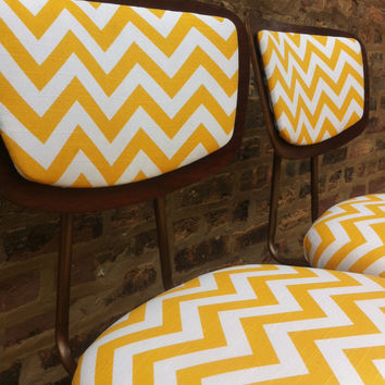 Pair Of Vintage Chairs In Mustard Chevron