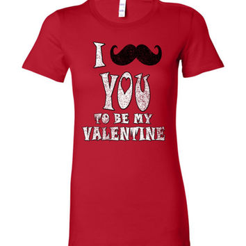 Valentine's Day Vintage Tee - I Moustache You To Be My Valentines - Mustache