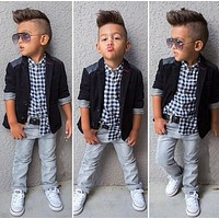 2 3 4 5 6 7 8 years baby boys' loose-fitting clothing sets kids clothes coat +shirt +jeans pants 3 pcs / Set kids casual set