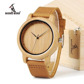 BOBO BIRD Simple Men Bamboo Watches 43mm Wood Dial with Leather Strap in Gift Box