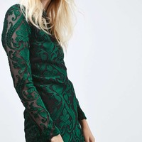 Long Sleeve Velvet Flock Dress - Dresses - Clothing