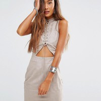 Young Bohemians High Neck Dress With Lace Up Cut Out Front