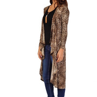 Cats Meow Long Cardigan - Leopard