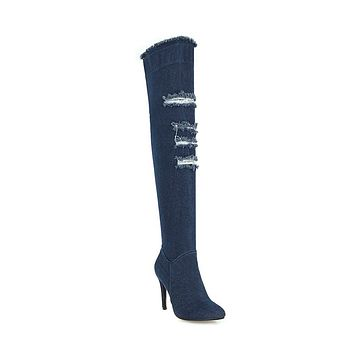 Denim Over the Knee Boots Winter Shoes for Woman 4795