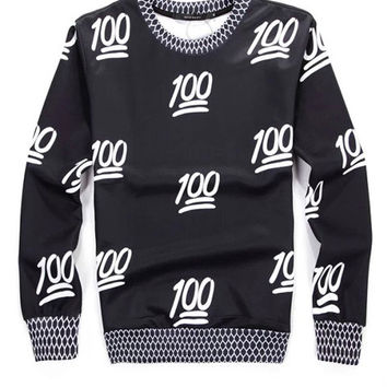 Black 3D 100 Emoji Print Long Sleeve Sweater