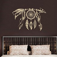 Arrow Wall Decal Dreamcatcher Dream Catcher Feathers Night Symbol Indian Vinyl Sticker Decals Bohemian Decor Bedroom Design Interior NV14 (16x22)