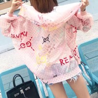 """Gucci"" Women Sweet Fashion Multicolor Letter Logo Print Zip Cardigan Long Sleeve Hooded Coat Sun Protection Clothing"