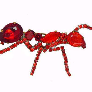Czech Red Glass Rhinestone Ant Brooch