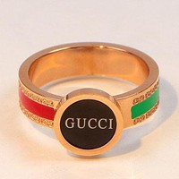 GUCCI Fashion New Letter Red Green Stripe Women Men Personality Ring Rose Gold