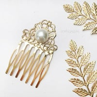 Gold Hair Comb Pearl Bridal Comb Victorian Wedding Hair Accessories Heirloom Antique Style Rustic Pearl Vintage Style Film Noir JW