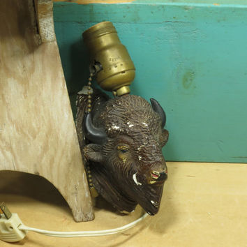 Chalkware Bison Lamp • Pull Chain Buffalo Light • Bison Light circa 1930s