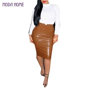 XXL Hot Sale Women Soft PU Leather Skirt High Waist Slim Hip Pencil Skirts Vintage Bodycon OL Midi Skirt Sexy Clubwear Plus Size