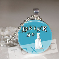 Round Glass Tile Bezel Pendant Necklace  Drink Me  by t0xicWish3s