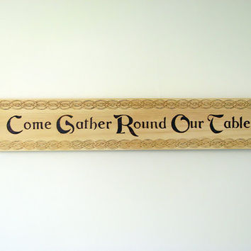 Family Gathering Sign - Wood Pyrography - Dining Room Wall Art