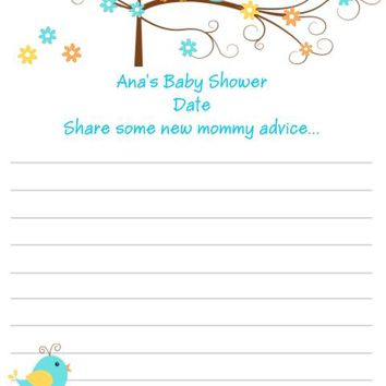 10 Happi Tree Owl Baby Shower Advice Cards