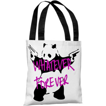 """Panda Whatever Forever Graffiti"" 18""x18"" Tote Bag by Banksy"