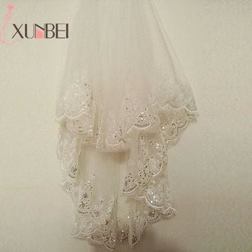 Short 1.5 Meters 2 Layers Ivory White Wedding Veil 2018 Sequined Edged Tulle Wedding Veils With Comb Wedding Accessories