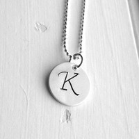 Letter K Necklace, Sterling SIlver Initial Necklace, Letter K Pendant, Letter K Jewelry, Initial Jewelry, Monogram Sterling Silver Jewelry
