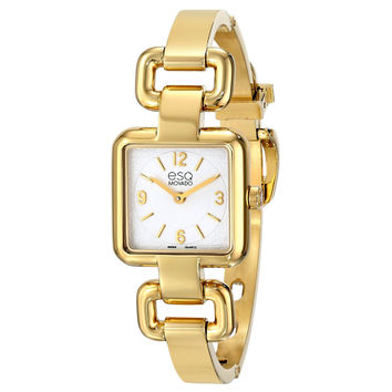 Movado ESQ Womens Status Gold Tone Square Swiss Quartz Watch Silver Dial 7101421