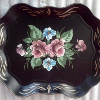 Vintage Serving Tray Hand Painted Tole from Nascho