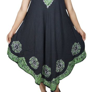 Summer Cocktail Sleeveless Dress Green Black Batik Embroidered Gypsy Hippie Chic Tank Dress 4XL