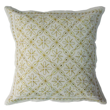 """16x16"""" White and Golden Indian Floral Embroidered Cotton Cushion Pillow Throw Cover India Ethnic Decor Art"""