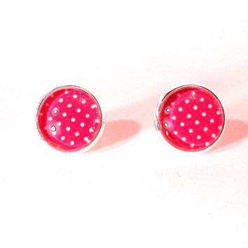 Polka Dot Earrings, Glass Earrings, Neon Pink, Polka Dots, Pink Earrings, Glass Jewelry, Polka Dot, Nickle Free Jewelry, Post Earrings