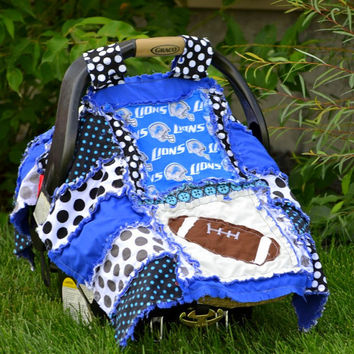 Football CAR SEAT COVER, Rag Quilt Style, Blue Black, Detroit Lions,  Ready to Ship in 1 Business Day