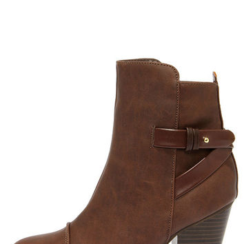 Swoon Walker Brown High Heel Ankle Boots