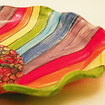 Handmade Ceramic Rainbow Roy G Biv Breakfast Plate by JudyBFreeman