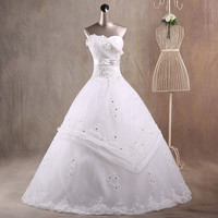 JAEDEN Ball Gown Sweetheart Wedding Dresses Ruffles Organza Pleat Tulle Appliques Crystal Beads Bridal Wedding Gowns W036