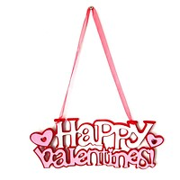 Happy Valentine Decoration Fabric Wall Hanging Board Plaques Signs Home Living Room Decorate Plate Valentine's Day Decor