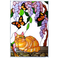 Cat & Butterflies Hand Painted Stained Glass Art