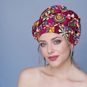 African Wax Print Turban Head Wrap Red Creme Black