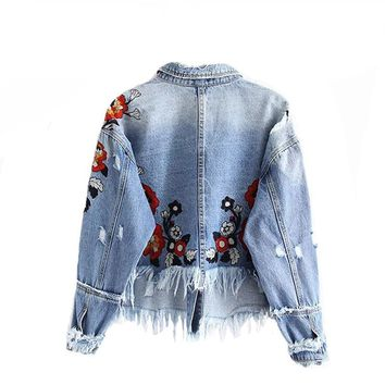 Denim long sleeve embroidery ripped jacket