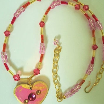 Valentine Necklace in Dark Pink and Gold, Earrings optional, no extra cost