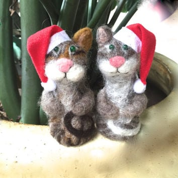 Cat Christmas ornaments Cat Christmas cat in Santa hat gift set gift ideas cats needle felted felt wool felting white cute white brown grey