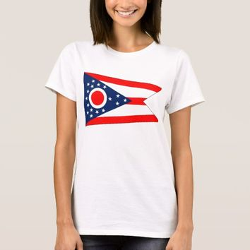 Women T Shirt with Flag of Ohio State