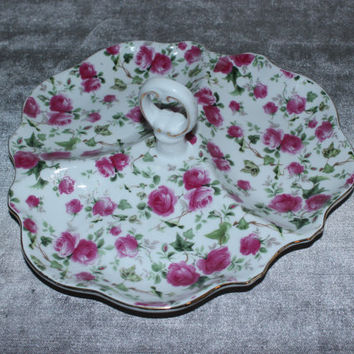 Pink rose Chintz divided tray with handle, tidbit tray, vintage trays, platters, floral kitchen, flower decor, candy bowl, nut bowl