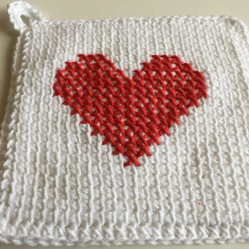 White Crochet Potholder, Cotton Hot Pad, Heart Potholders,  Kitchen Pot Holders, Valentines Potholders