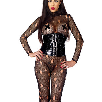 Sexy Fetish Distressed Fishnet Catsuit