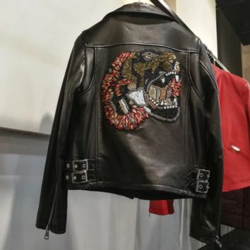 Gucci Black new arrival sheepskin leather jackets