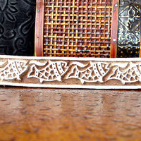 Hand Carved Wood Stamp: Fish Stamp, Indian Printing Block, Rectangle Wooden Border Block Stamp from India