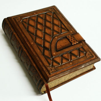 Brown Handmade leather journal- Chesterfield style