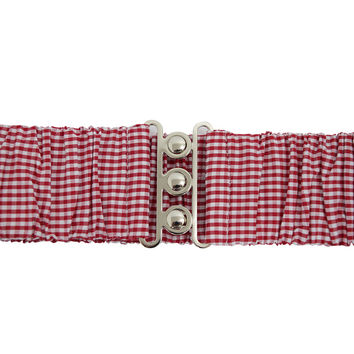 Rockabilly pin-up Red & White Gingham Checks Silver Retro Clasp Elastic Waist Belt