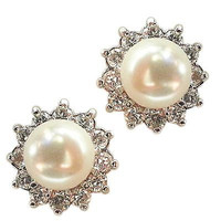 Faux Pearl Stud Earrings White Sterling Silver Cubic Zirconia Fashion e815s