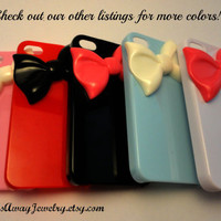 Black Iphone 5 Case With Red Bow, Bow Iphone 5 Case, Iphone Case