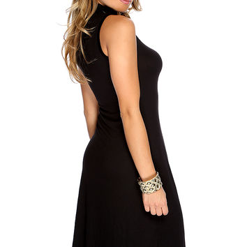 Sexy Black Sleeveless Turtle Neck Causal Midi Party Dress